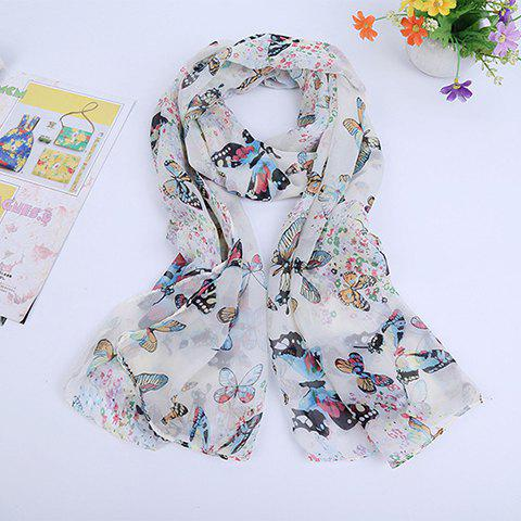 Hot Sale Butterfly Pattern Scarf - OFF WHITE