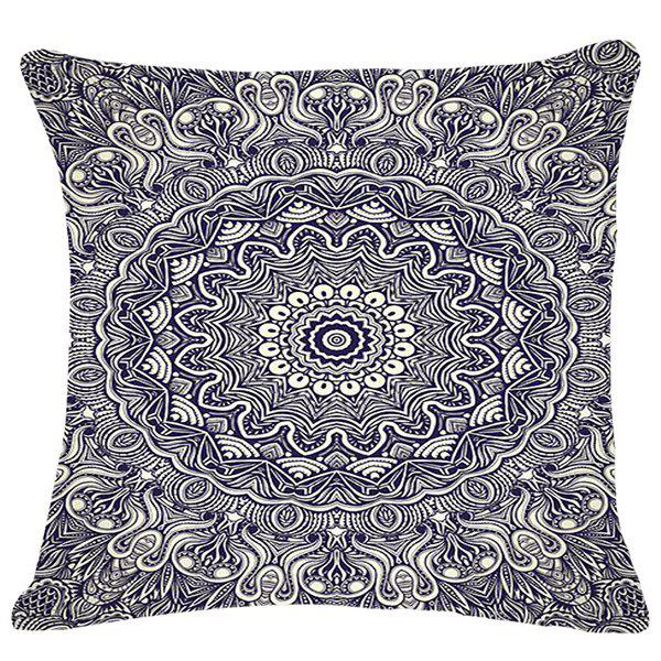 Chic Style Classic Pattern Square Shape Flax Pillowcase (Without Pillow Inner) - BLACK