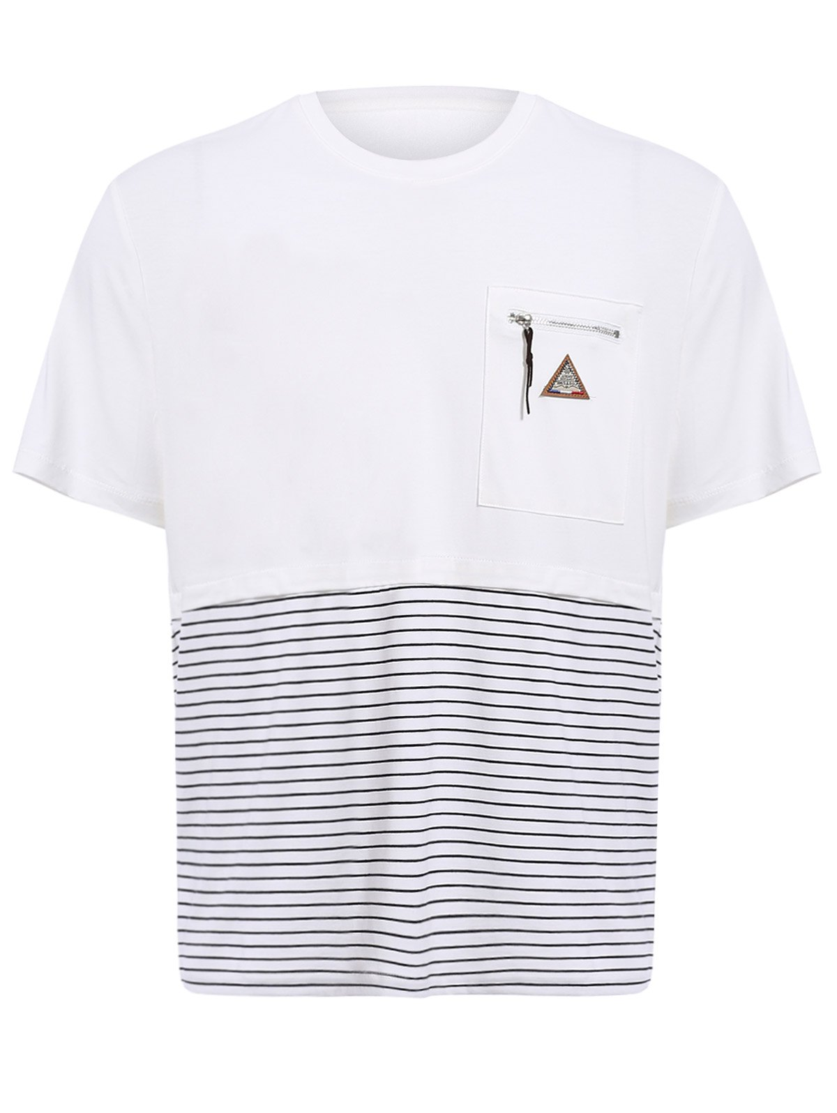 Vogue col rond Zipper Color Block Stripes Spliced ​​Men  's manches courtes T-shirt - Blanc L