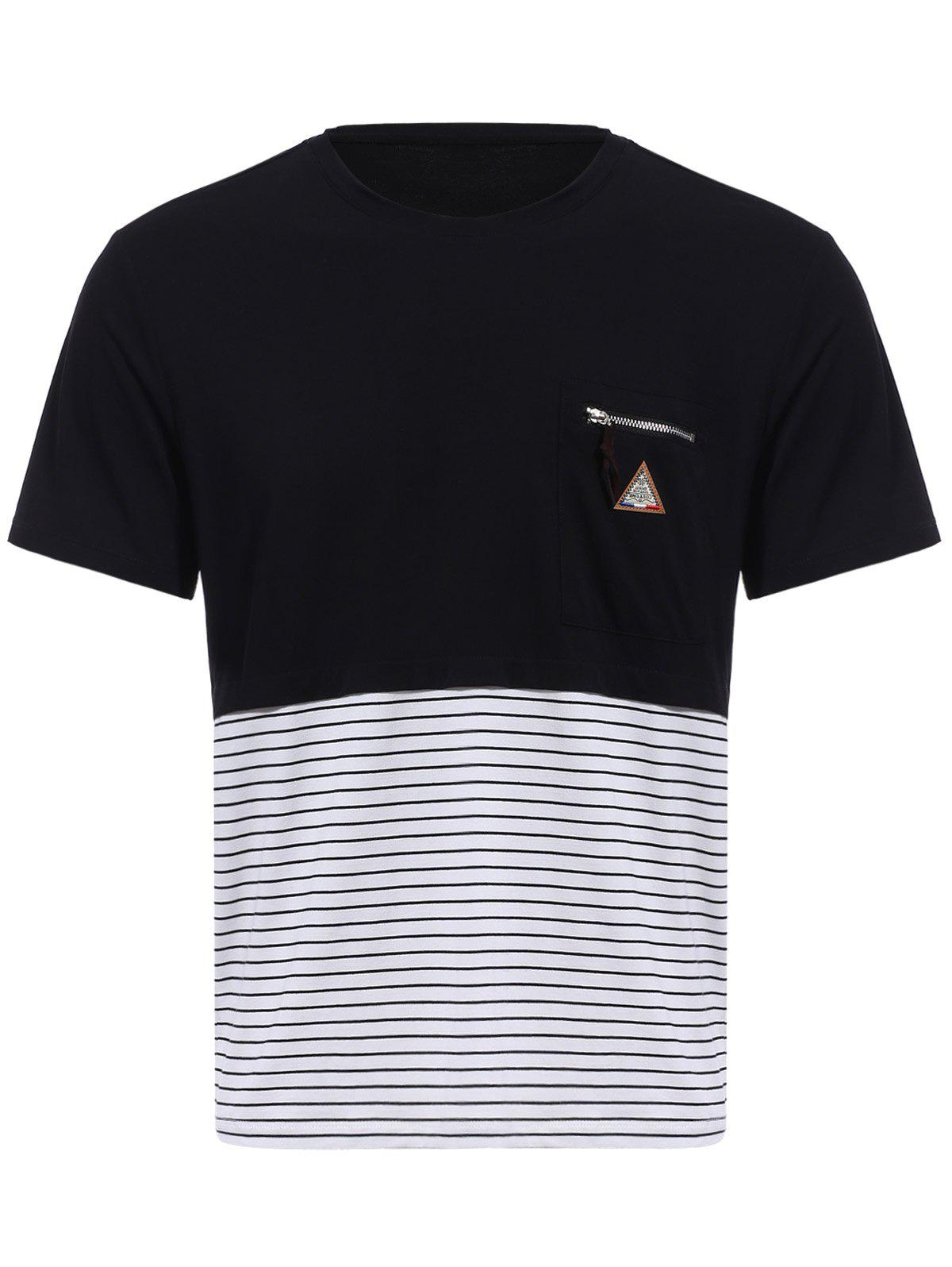 Vogue col rond Zipper Color Block Stripes Spliced ​​Men  's manches courtes T-shirt - Noir 3XL