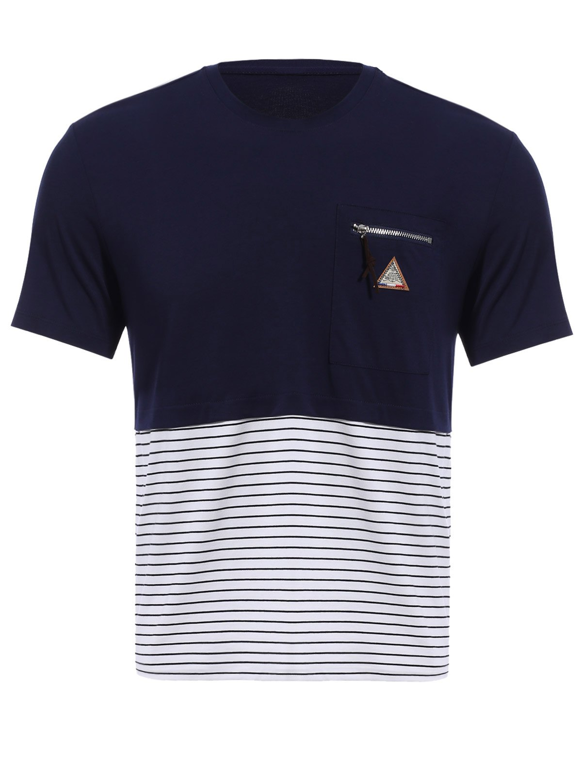 Vogue col rond Zipper Color Block Stripes Spliced ​​Men  's manches courtes T-shirt - Bleu Cadette M