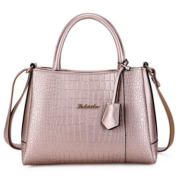 Simple Embossing and Metal Design Women's Tote Bag - ROSE GOLD