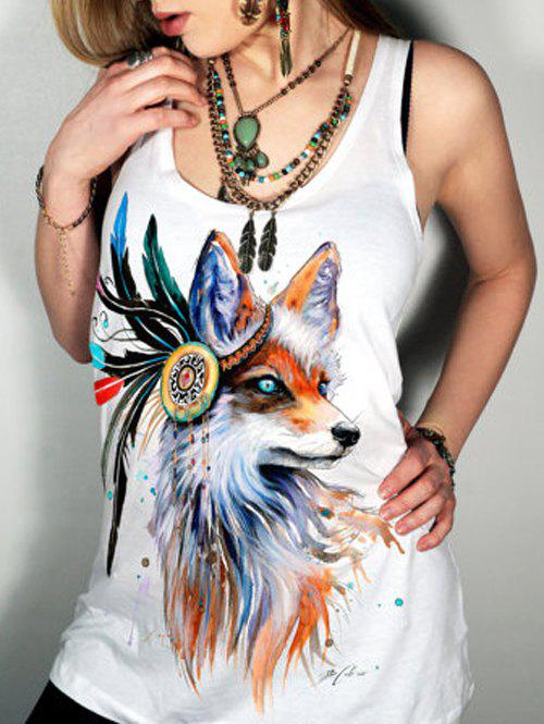 Simple Style Scoop Neck Animal Pattern Tank Top - WHITE S