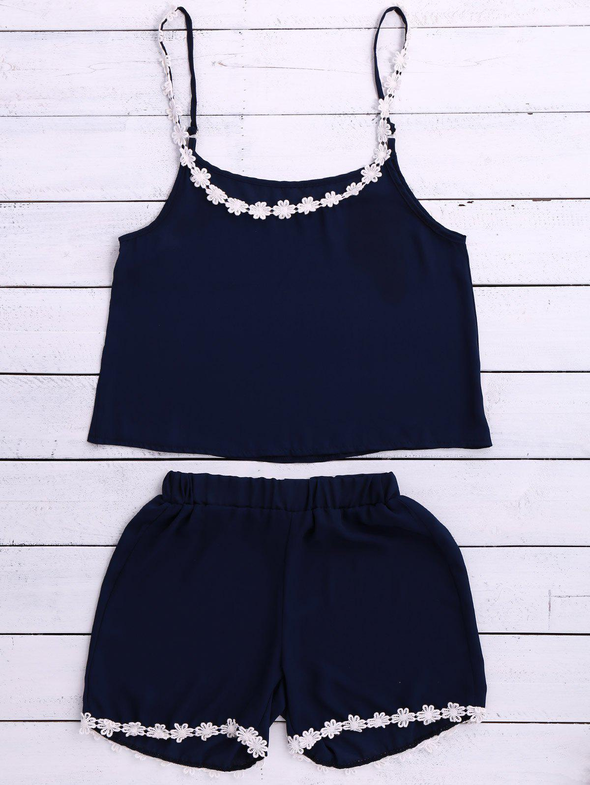Chic Laciness Spaghetti Strap Tank Top + Elastic Waist Shorts Women's Twinset - CADETBLUE S