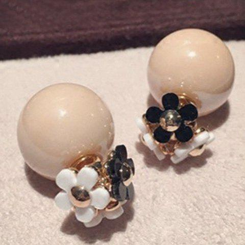 Pair of Stylish Double-End Faux Pearl Ball Flower Stud Earrings For Women - YELLOWISH PINK