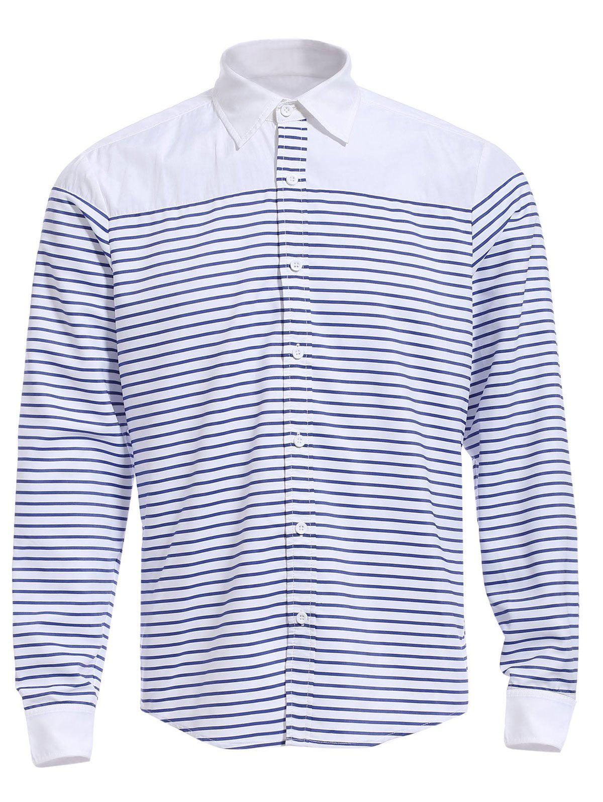 Refreshing Turn-down Collar Color Block Long Sleeves Men's Striped Shirt - STRIPE M