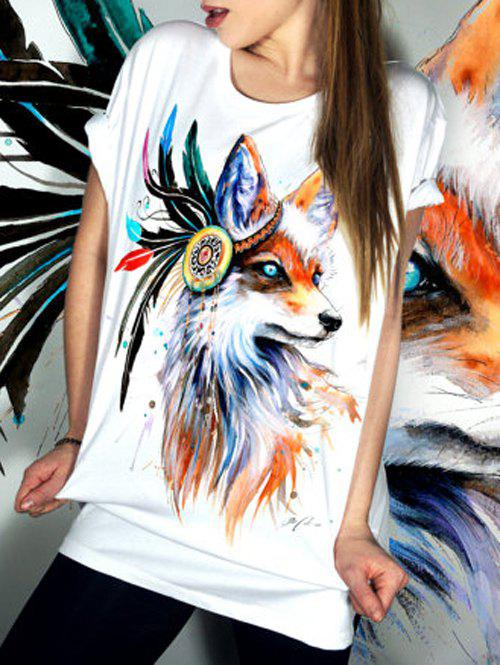 Simple Style Scoop Neck Short Sleeve Animal Pattern T-Shirt For Women - WHITE S