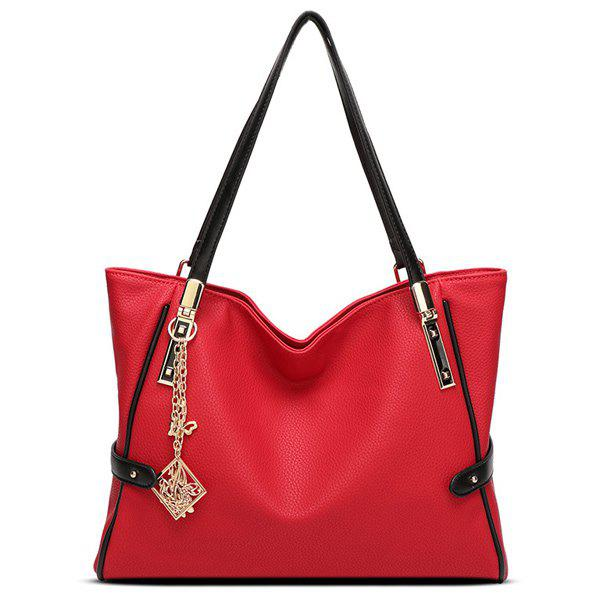 Stylish Pendant and PU Leather Design Women's Shoulder Bag - RED