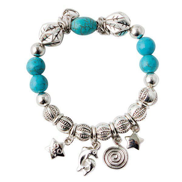 Ethnic Faux Turquoise Dolphin Pentagram Charm Bracelet For Women