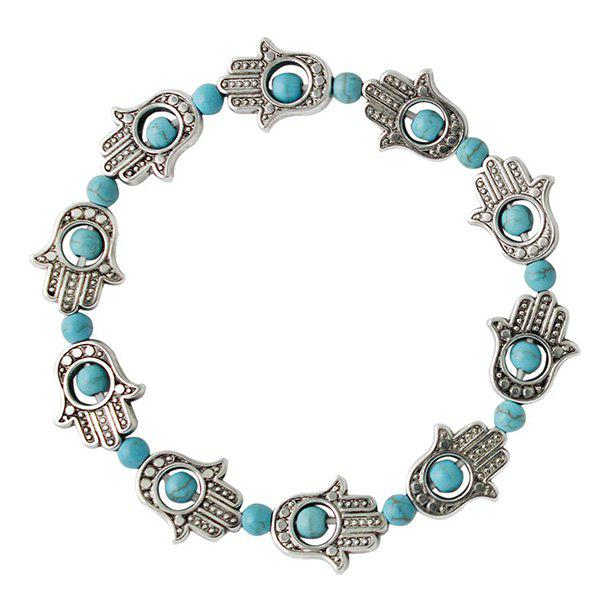 Ethnic Faux Turquoise Palm Bracelet For Women