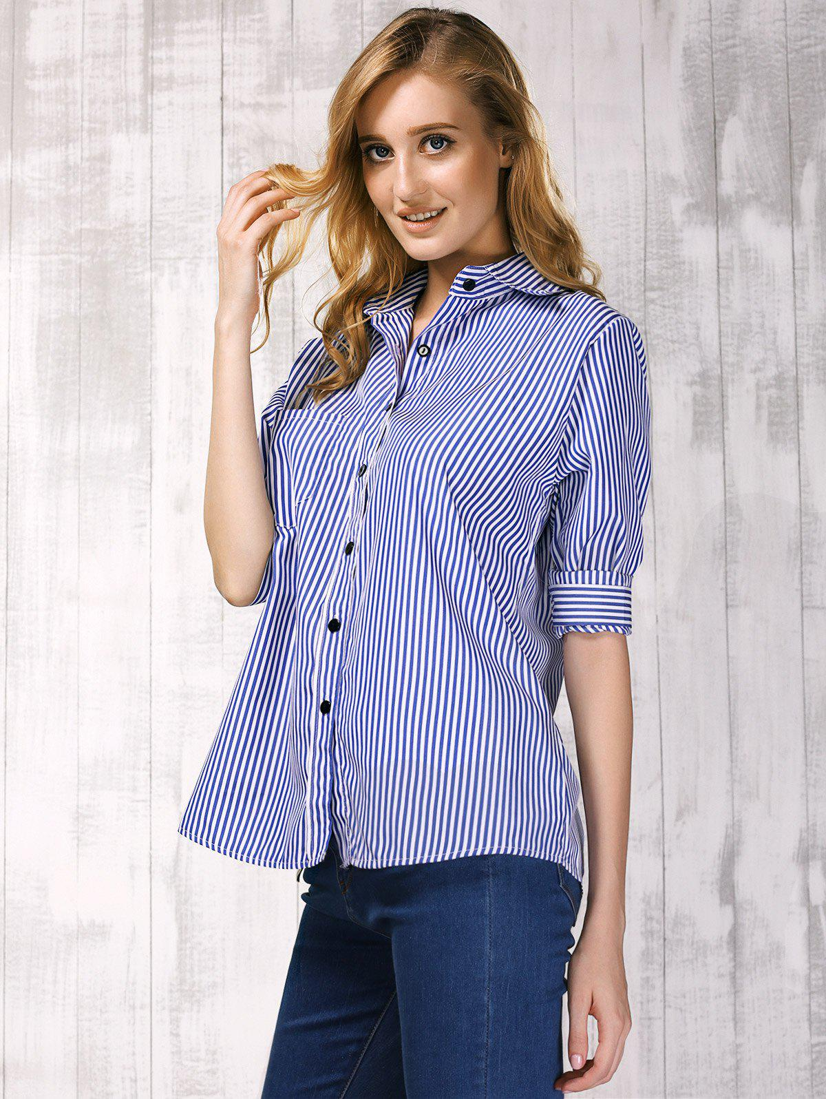 Brief Shirt Collar Long Sleeve Vertical Striped Shirt For Women - BLUE XL