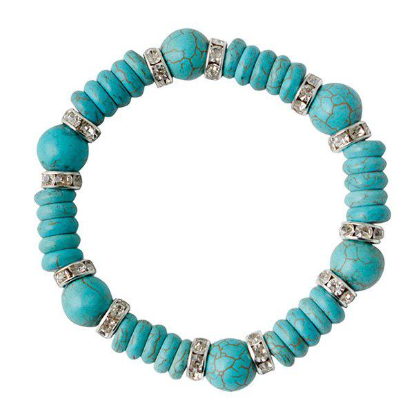 Ethnic Faux Turquoise Rhinestone Bead Bracelet For Women