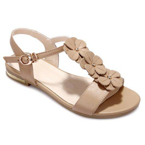 Casual T-Strap and Flowers Design Women's Sandals - APRICOT 36