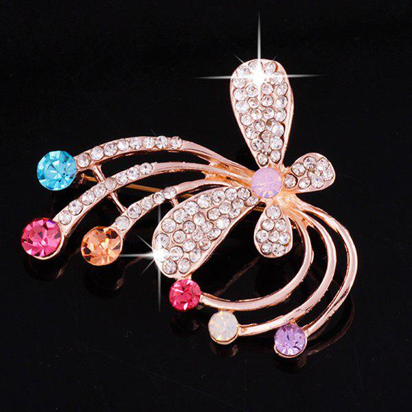 Faux Gem Rhinestone Butterfly Brooch - ROSE GOLD