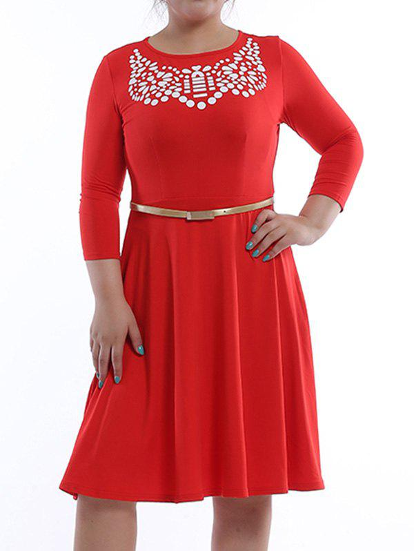Casual Women's Plus Size Jewel Neck Printed 3/4 Sleeve  Dress - RED 4XL