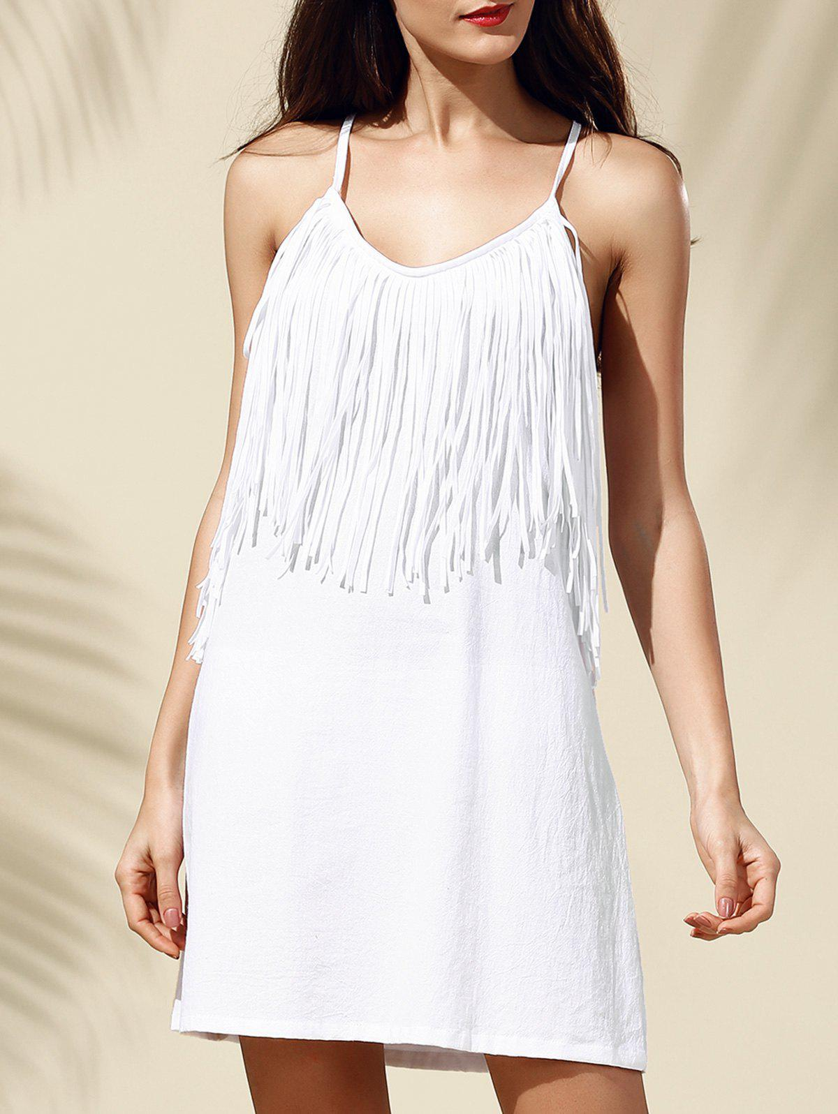 Stylish Fringe Decoration Spaghetti Strap Backless Women's Dress - WHITE S
