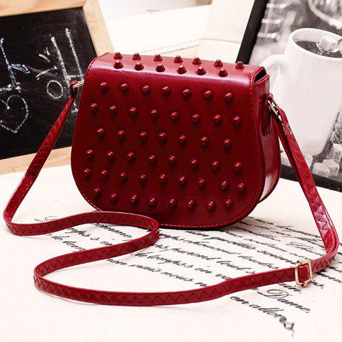 Stylish Studded and Solid Color Design Women's Crossbody Bag - WINE RED