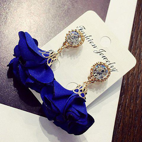 Pair of Stylish Rhinestone Fabric Flower Pendant Lady Style Earrings For Women - SAPPHIRE BLUE
