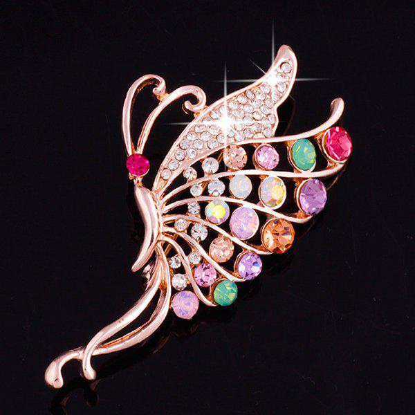 Butterfly Faux Gem Zircon Brooch - ROSE GOLD