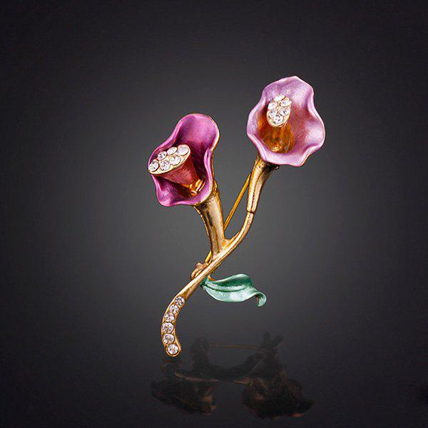Alloy Rhinestone Trumpet Flower Brooch -  PURPLE