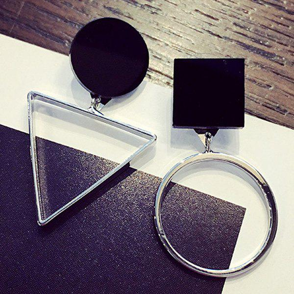 Pair of Hollow Out Round Triangle Earrings - SILVER