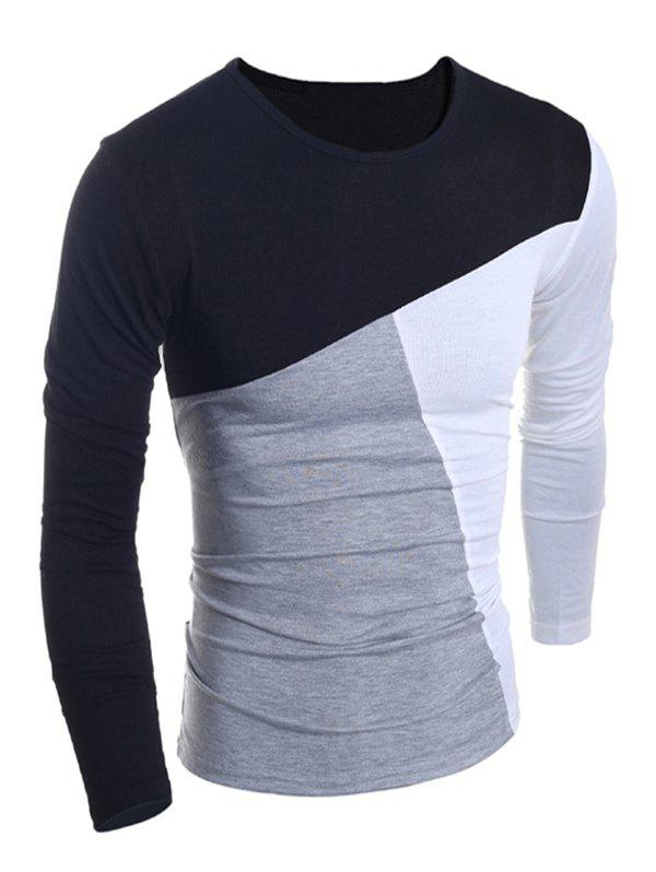Fashionable Round Neck Classic Color Splicing Slimming Long Sleeves Men's T-Shirt - XL BLACK