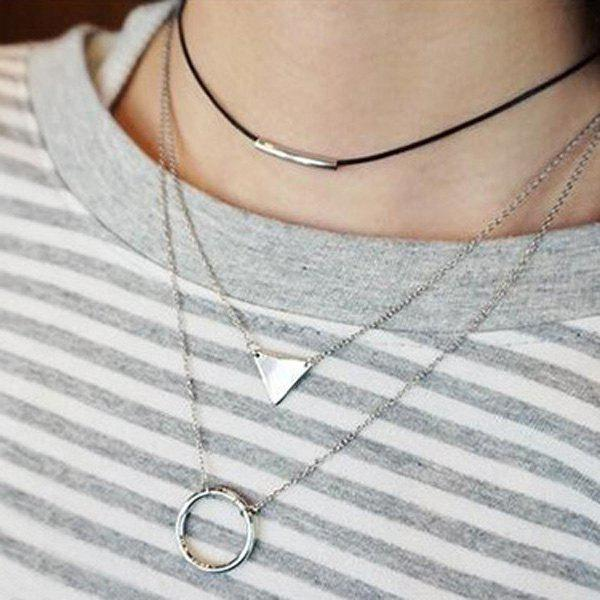Stylish Hollow Round Triangle Two-Piece Necklaces For Women - SILVER