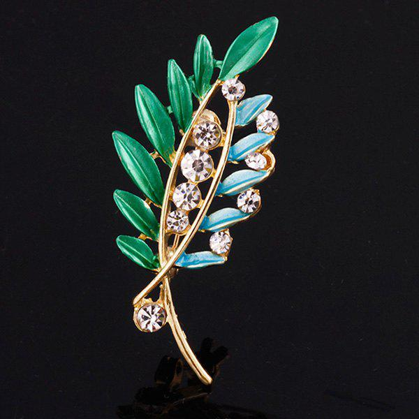 Rhinestone Branch Leaf Brooch - BLUE