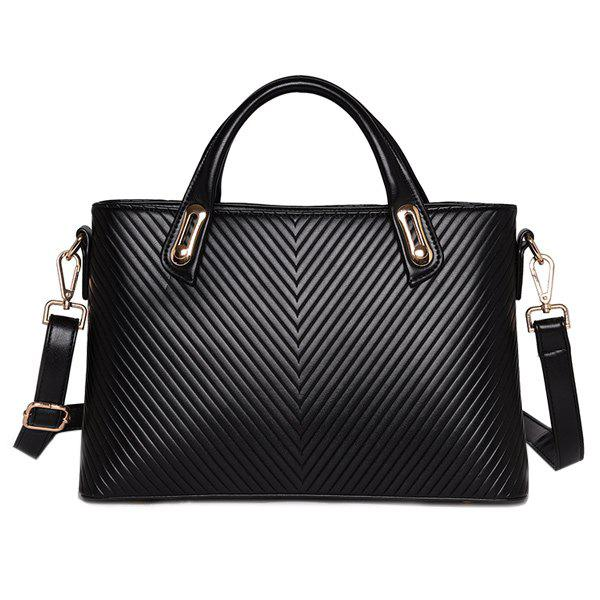 Trendy Metal and PU Leather Design Women's Tote Bag - BLACK