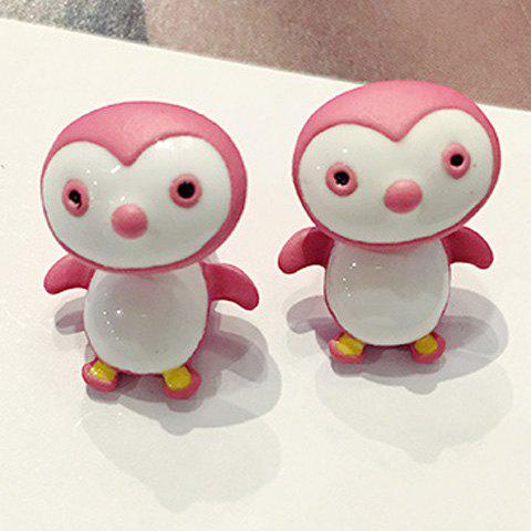 Pair of Stylish Cute Little Pink Penguin Earrings For Women - PINK