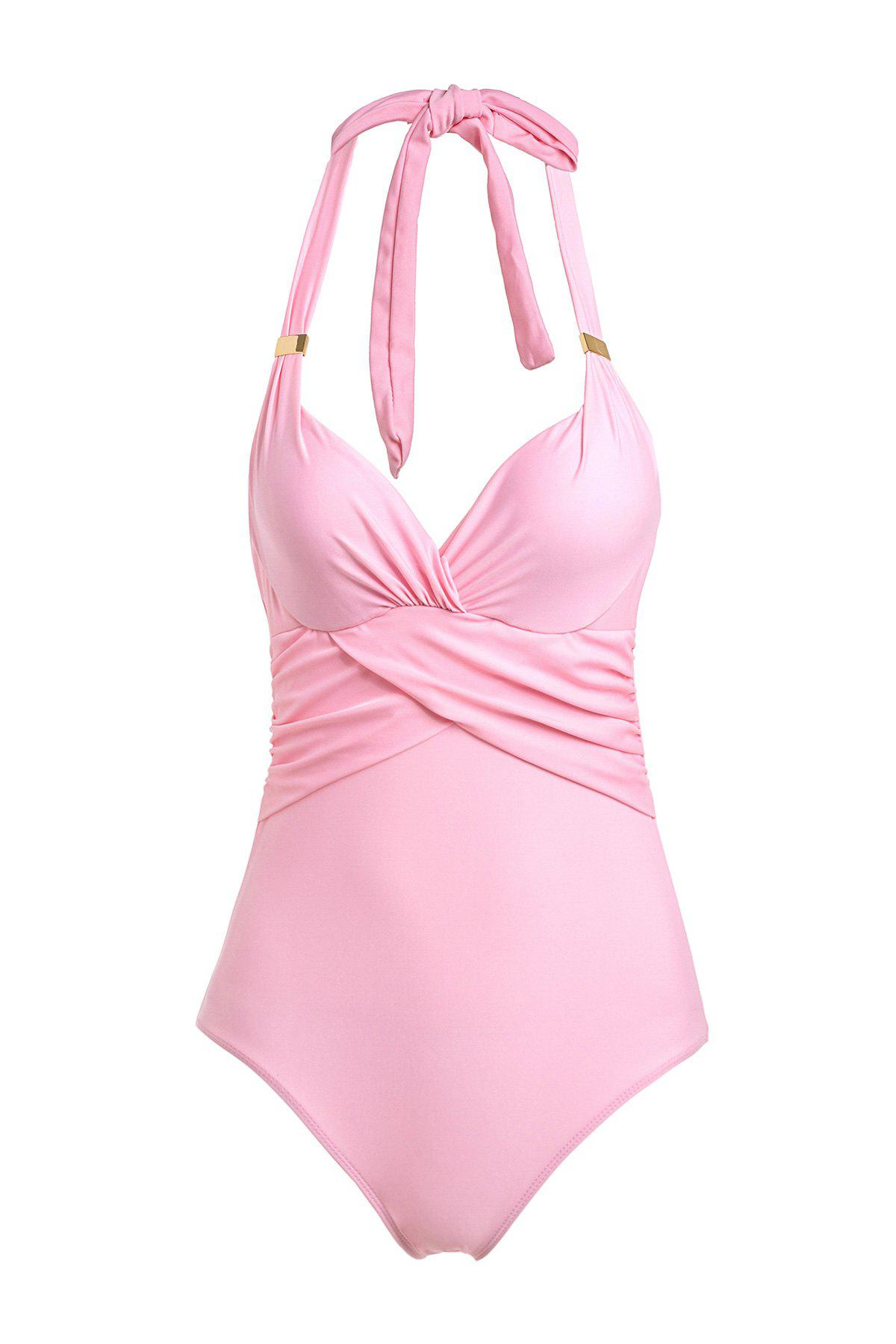Fashionable One Piece Halter Solid Color Swimwear For Women - PINK 2XL