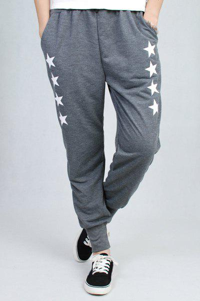 Casual Star Print Pocket Design Drawstring Women's Pants - GRAY ONE SIZE(FIT SIZE XS TO M)