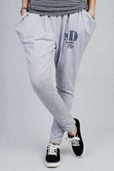 Casual Elastic Waist Pocket Design Letter Pattern Women's Pants - WHITE ONE SIZE(FIT SIZE XS TO M)