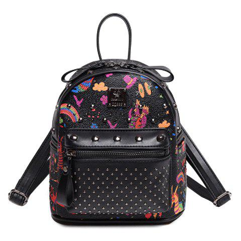 Fashionable Rivets and Printed Design Women's Backpack - BLACK