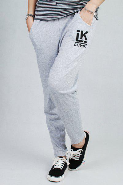 Casual Loose-Fitting Letter Print Pocket Design Women's Pants - WHITE ONE SIZE(FIT SIZE XS TO M)