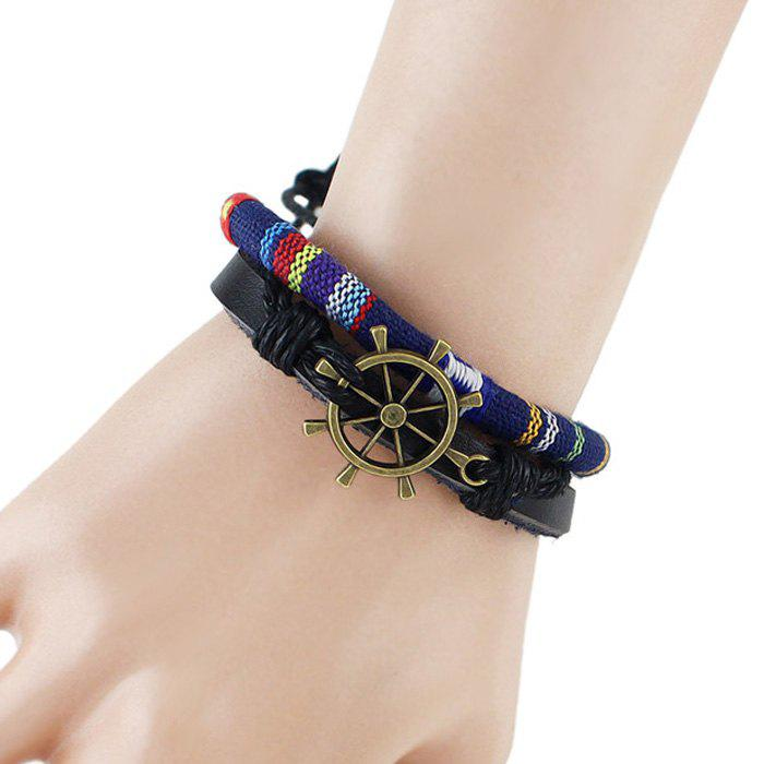 Retro Multilayer PU Leather Rudder Bracelet - BLUE