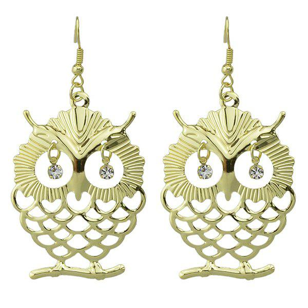 Pair of Rhinestone Owl Hollow Out Drop Earrings - GOLDEN