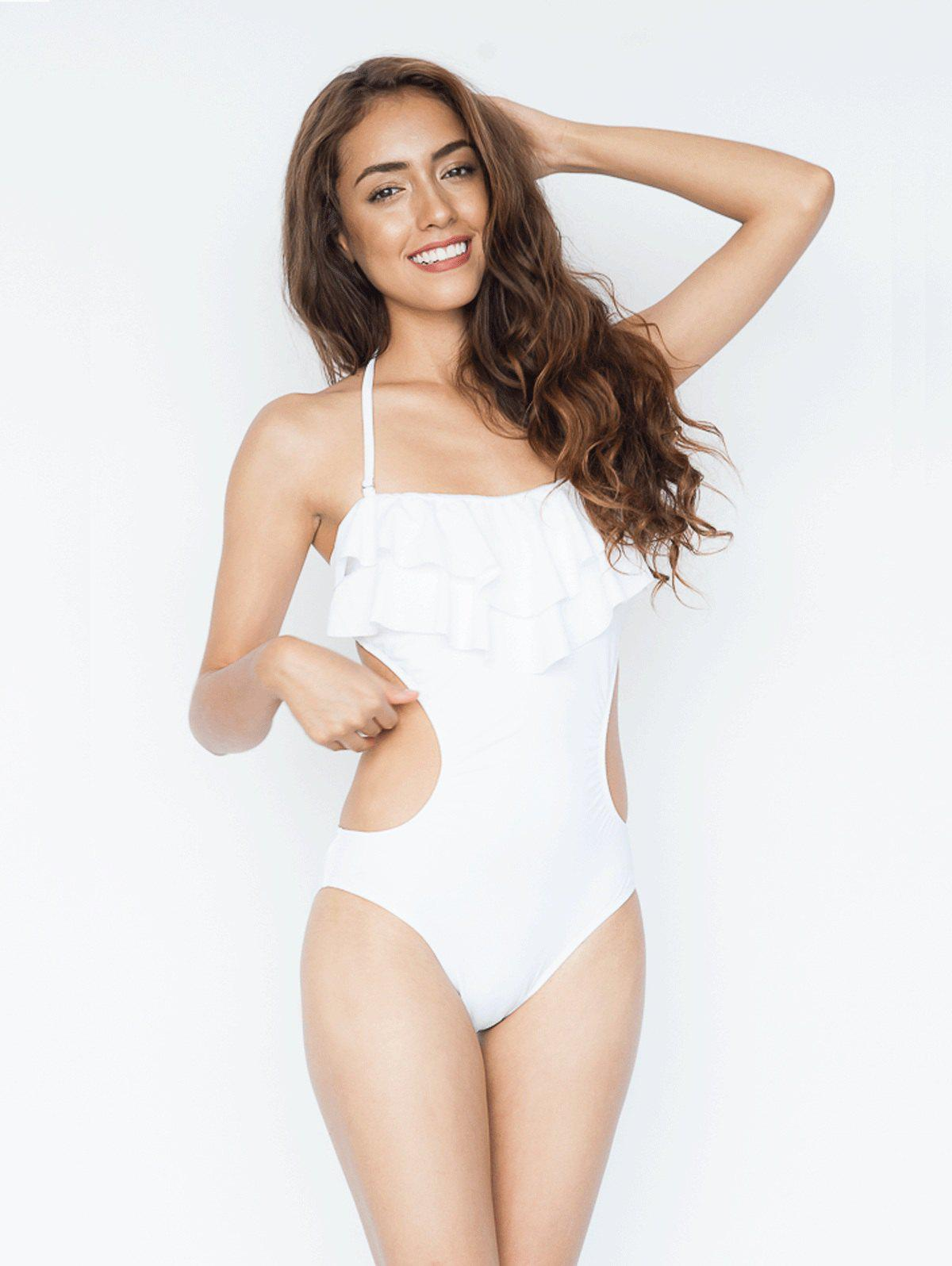 Halter Tie Back Ruffle Backless Swimsuit - WHITE S