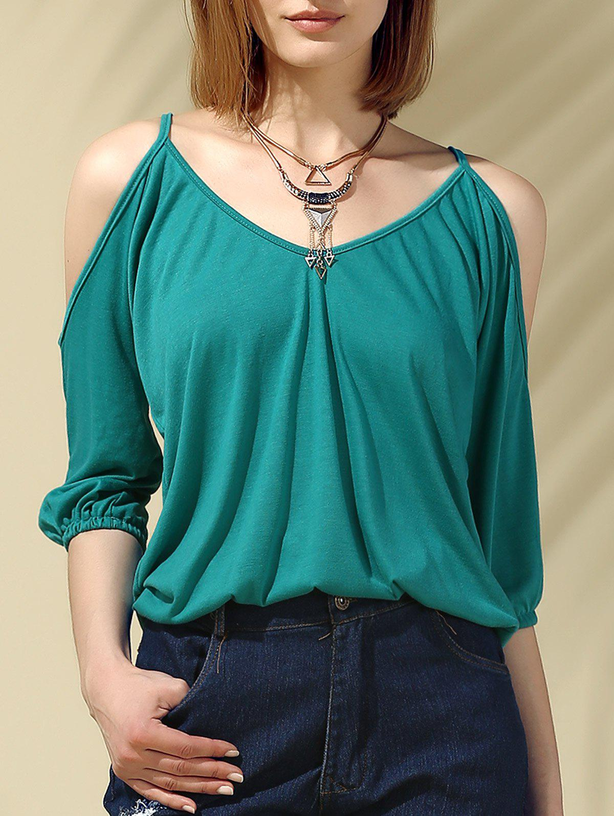 Glamourous Women's Plunging Neck Cold Shoulder 3/4 Sleeves Blouse - CYAN M