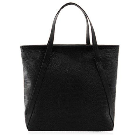 Casual PU Leather and Embossing Design Women's Shoulder Bag - BLACK