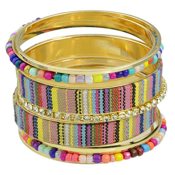 Punk Multilayer Rhinestone Bead Bracelet - COLORMIX