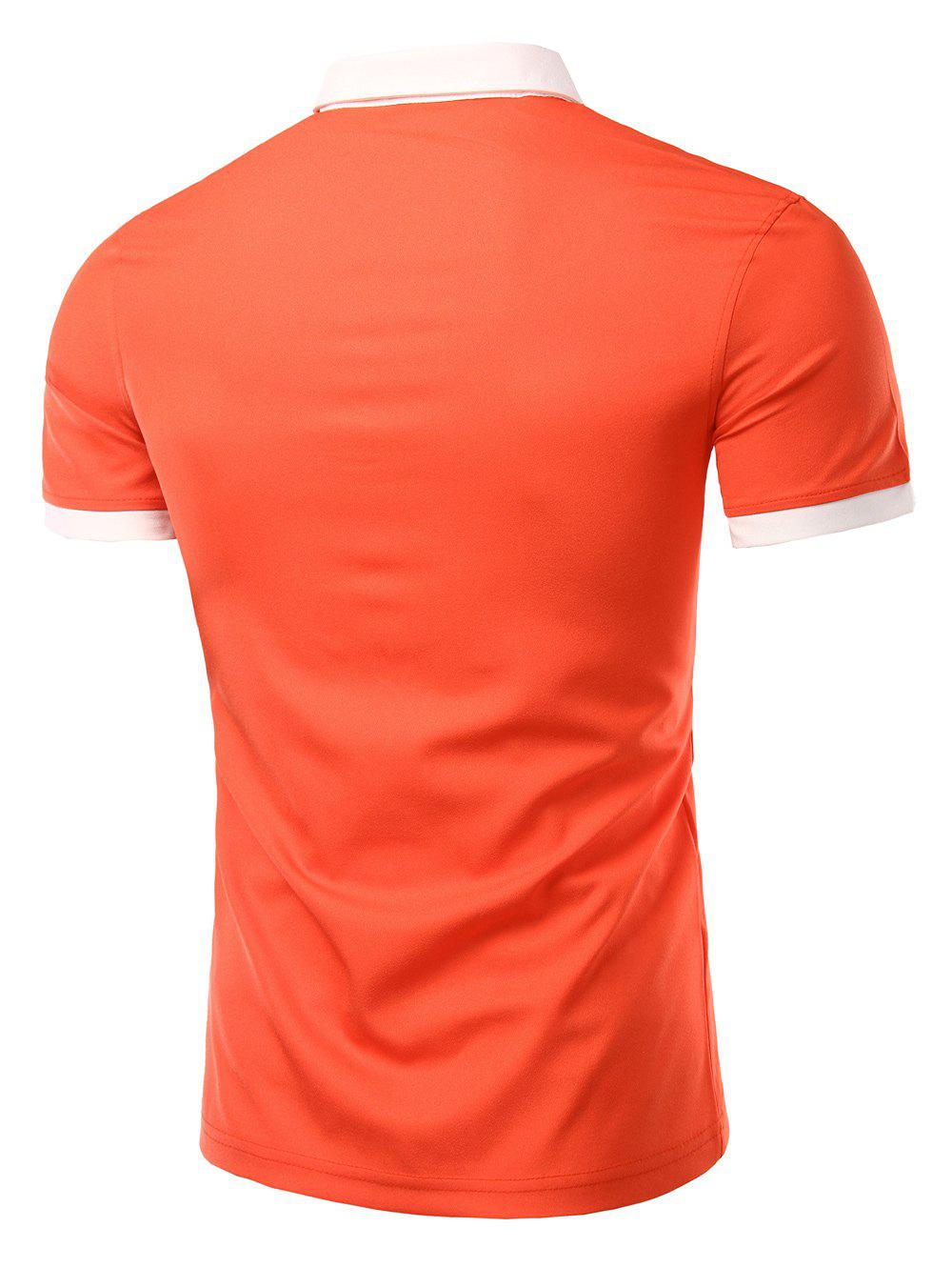 Men's Fashion Turn-down Collar Solid Color Short Sleeves Polo T-Shirt - JACINTH L