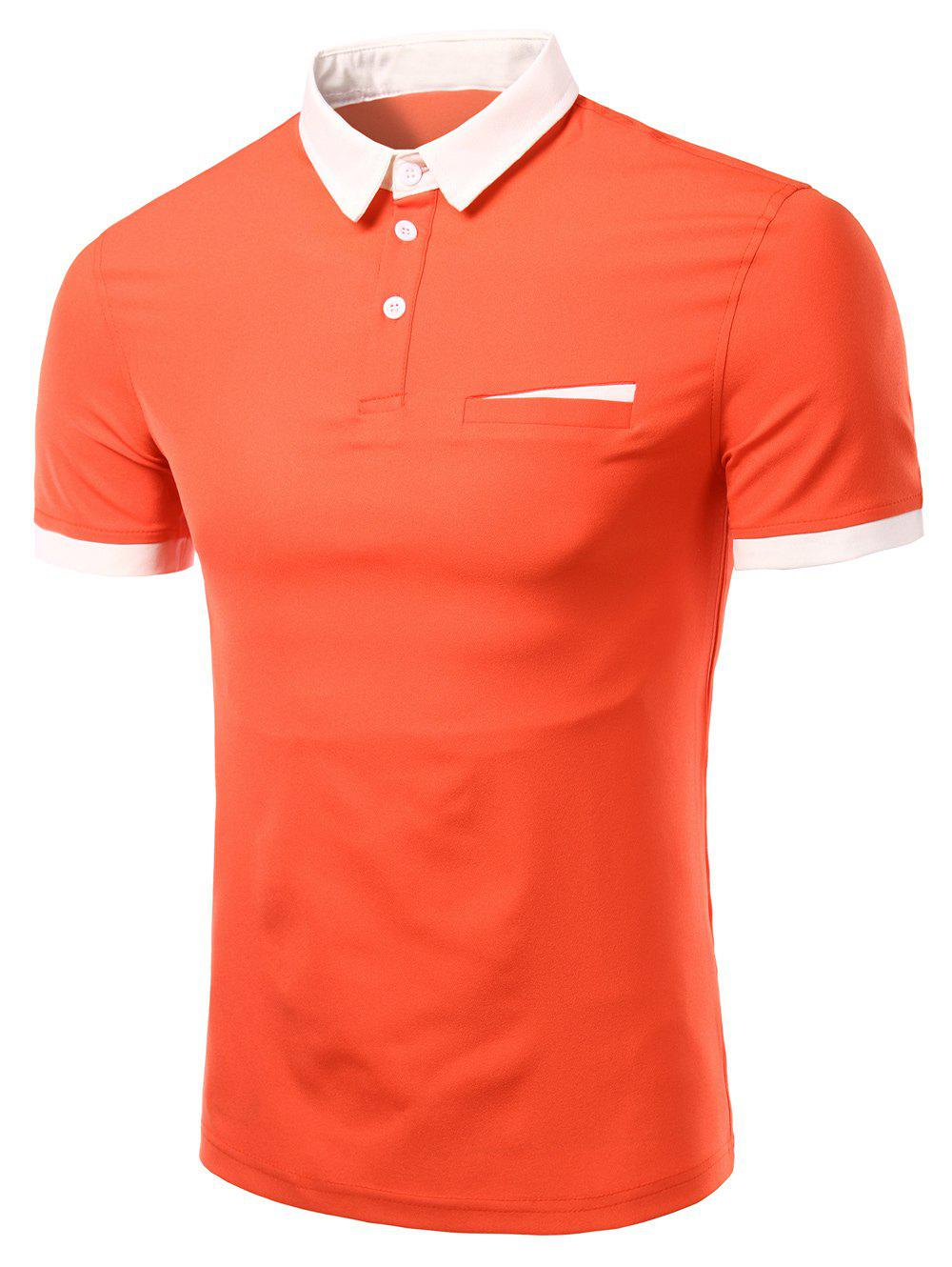 Men's Fashion Turn-down Collar Solid Color Short Sleeves Polo T-Shirt - JACINTH M