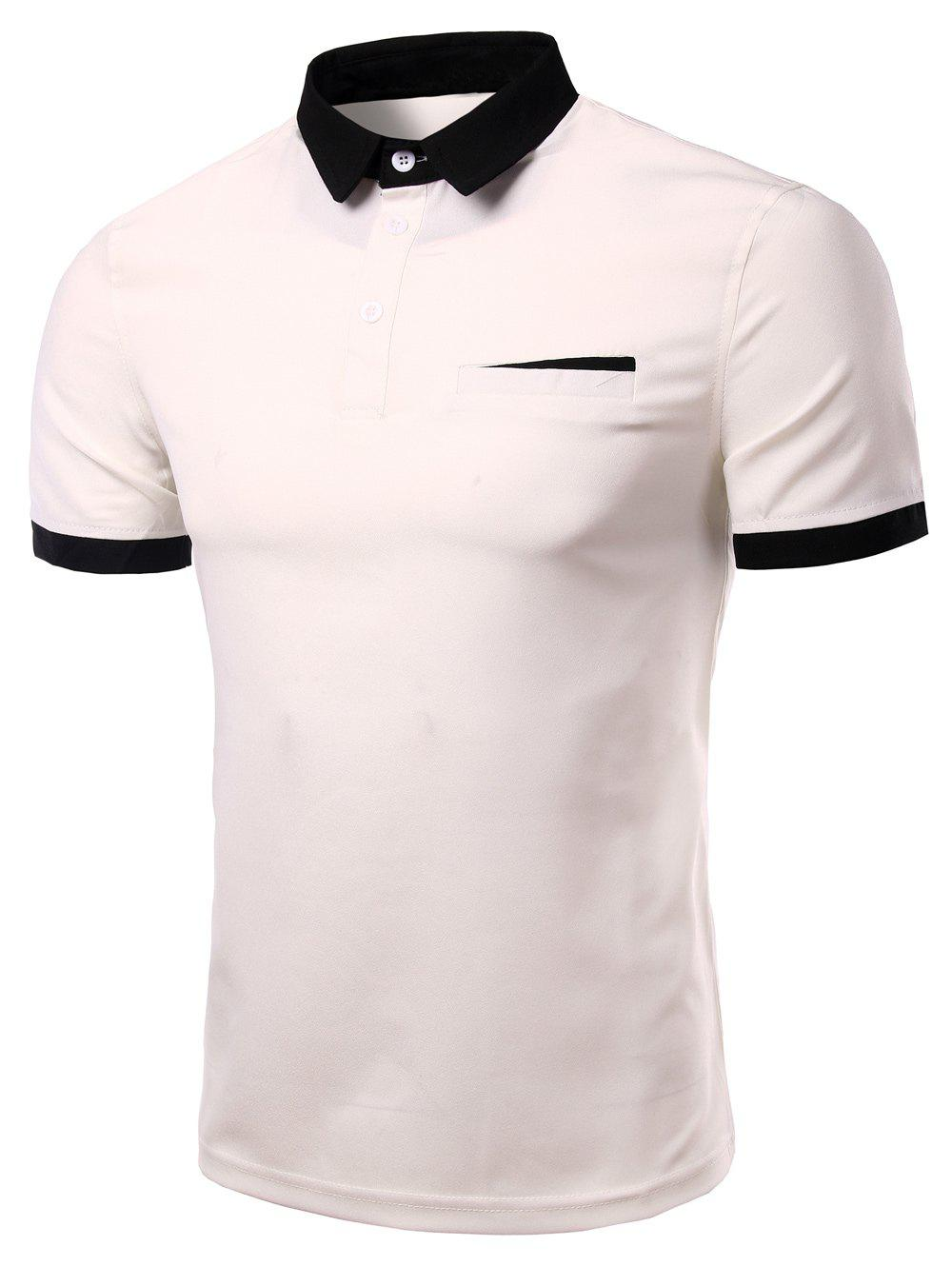 Men's Fashion Turn-down Collar Solid Color Short Sleeves Polo T-Shirt - WHITE 3XL