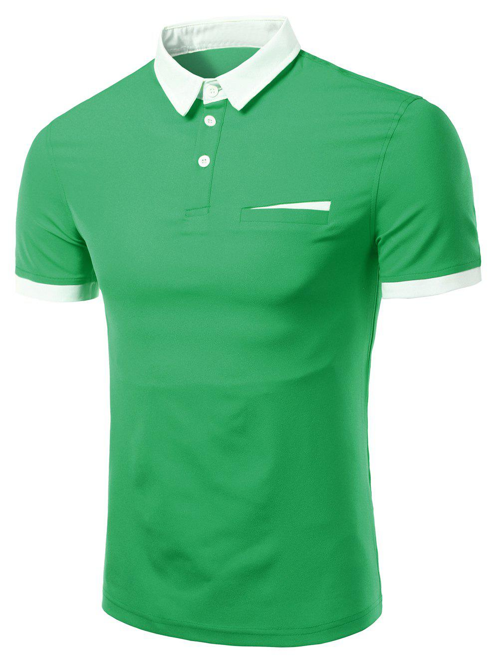 Men's Fashion Turn-down Collar Solid Color Short Sleeves Polo T-Shirt - GREEN 3XL