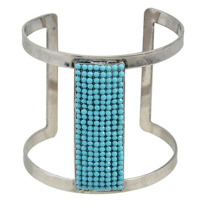 Rectangle Faux Gem Cuff Bracelet - BLUE