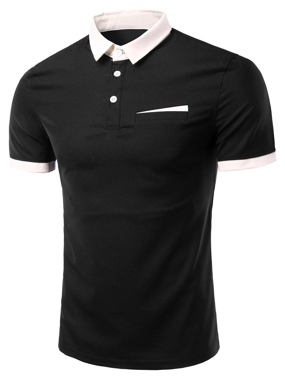 Men's Fashion Turn-down Collar Solid Color Short Sleeves Polo T-Shirt - BLACK L