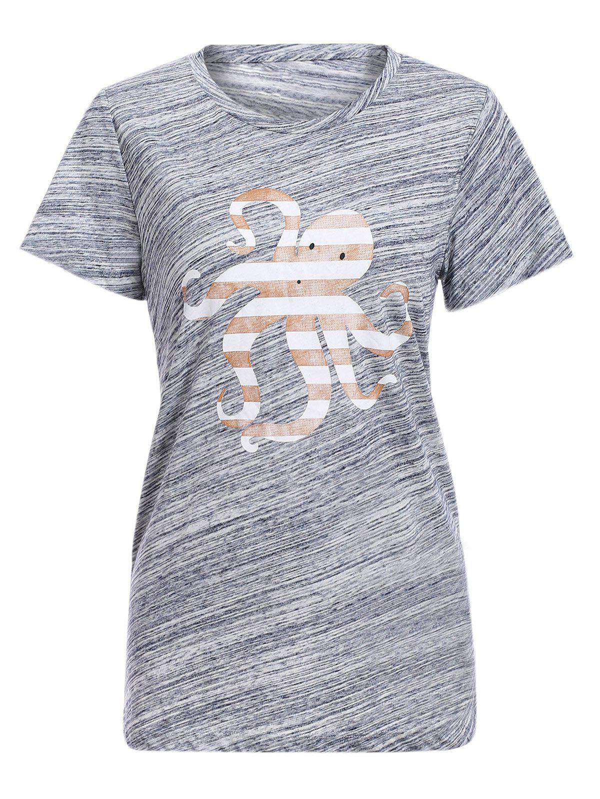 Trendy Short Sleeve Round Collar Octopus Print Womens T-ShirtWomen<br><br><br>Size: M<br>Color: GRAY