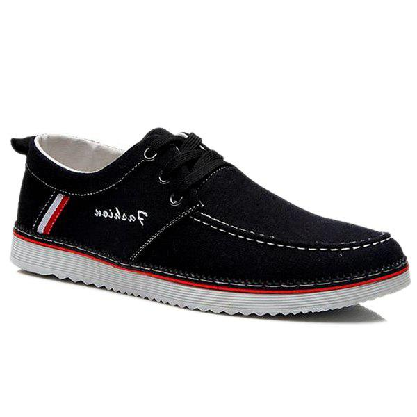 Leisure Stitching and Round Toe Design Men's Canvas Shoes - BLACK 40