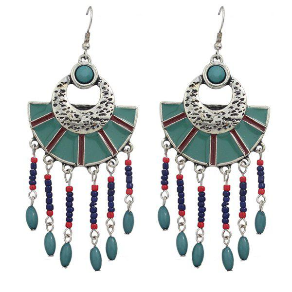 Pair of Geometric Beads Drop Earrings - BLUE